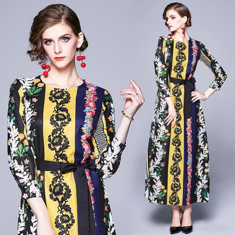 Vintage Fashion Print Round Neck Long Sleeve Dress