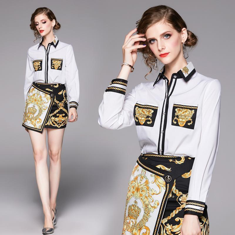 Lapel Long Sleeve Printed Shirt + Short Skirt