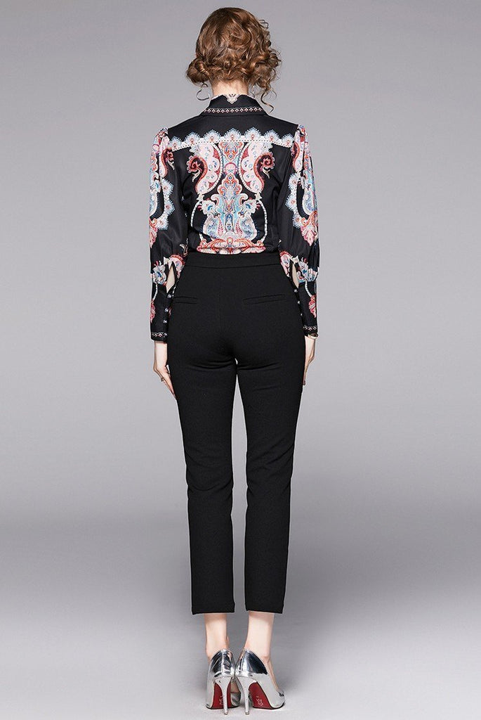 Lapel Fashion Court Print Long Sleeve Shirt