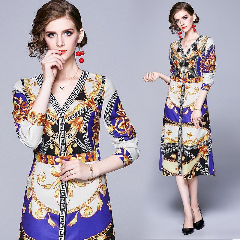 Fashion V-neck Long-sleeved Print Slim Dress