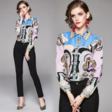 Fashion Lapel Print Long Sleeves Shirts