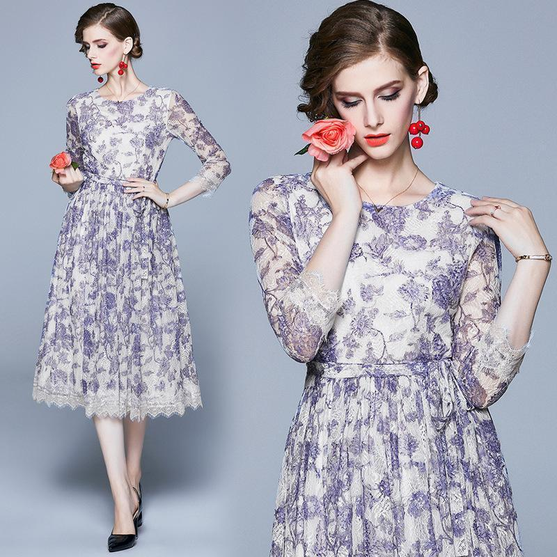 Fashion Round Neck Cropped Sleeves Lace Printed Dress