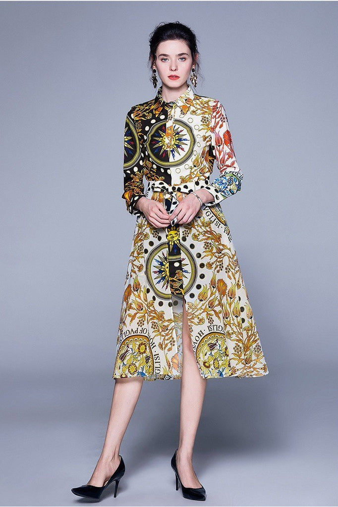Long sleeve Stitching Print Slim Fashion Dress