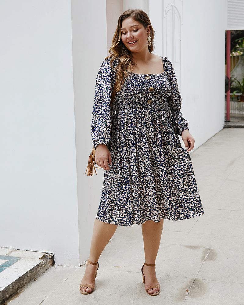 Floral Loose Casual Long Sleeve Knee Length Midi Dress XL-4XL