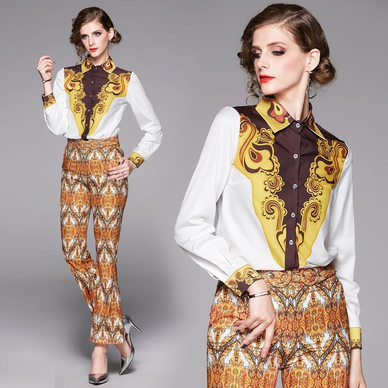 Fashion Lapel Long Sleeve Printed Shirt