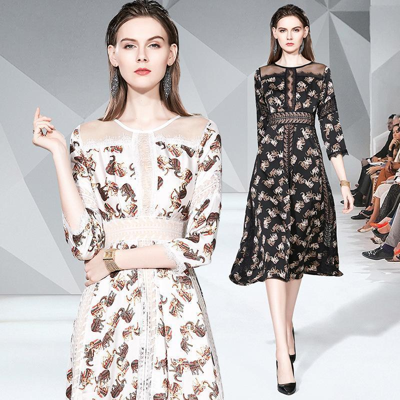 Round Neck Fashion Print Slim Mid-length Dress