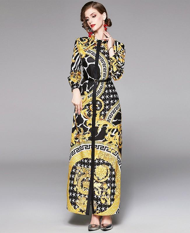 Printed Cardigan Lapel Long Sleeve Long Skirt Waist Dress