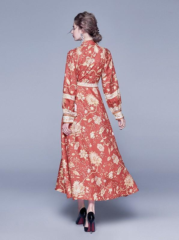 Long Sleeved Fashion Print Slim Long Dress
