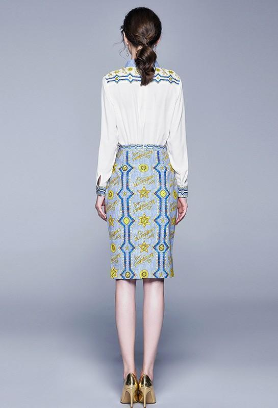 Lapel Long-sleeved Top + Mid-length Printed Skirt