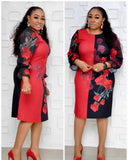 Vintage Foral Printed A-Line Plus Size Long Dresses L-3XL