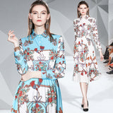 Lapel Long Sleeve Fashion Print Top + Mid-length Pleated Skirt