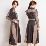Retro Court Print Long Sleeve Midi Dress