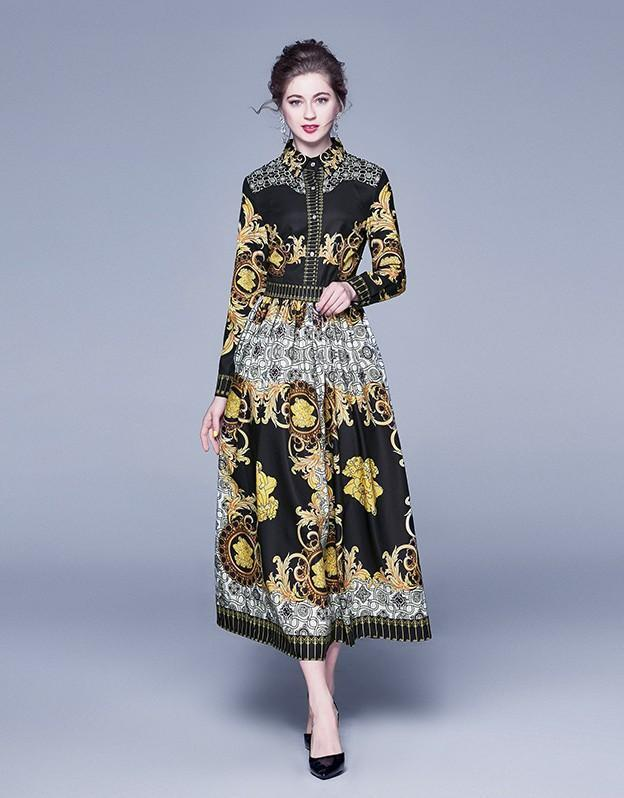 Lapel Long Sleeve Fashion Print Slim Long Dress