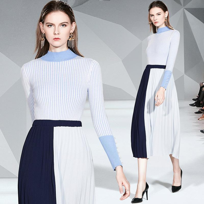 Fashion Long-sleeved Knit Top + Mid-length Pleated Skirt