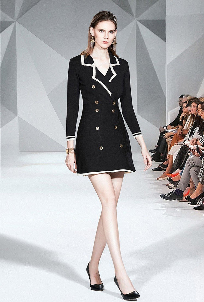 Fashion Lapel Long Sleeve Fashion Knit A-line Dress