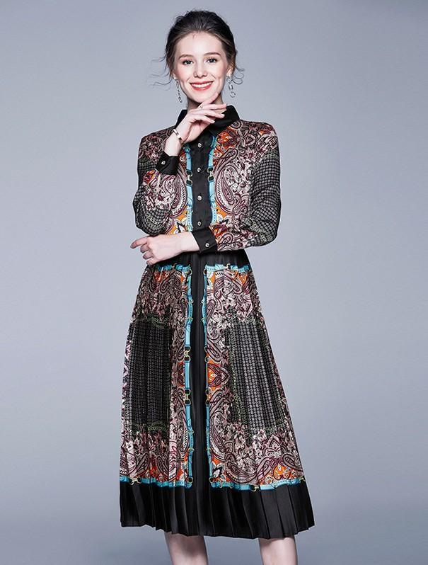Retro Print Long Sleeves Midi Dress