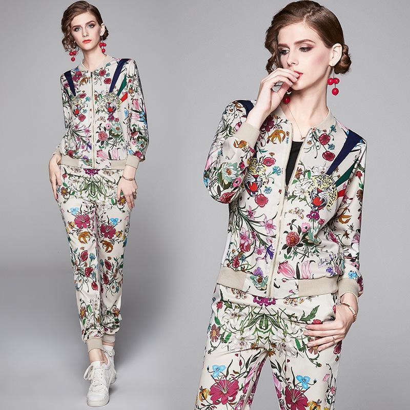 Fashion Printed Jacket + Casual Pants Set