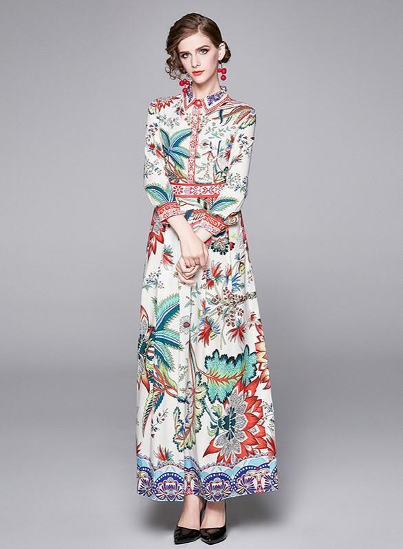Lapel Long Sleeve Fashion Print Maxi Dress
