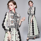 Fashion Print Long Sleeve Slim Long Dress