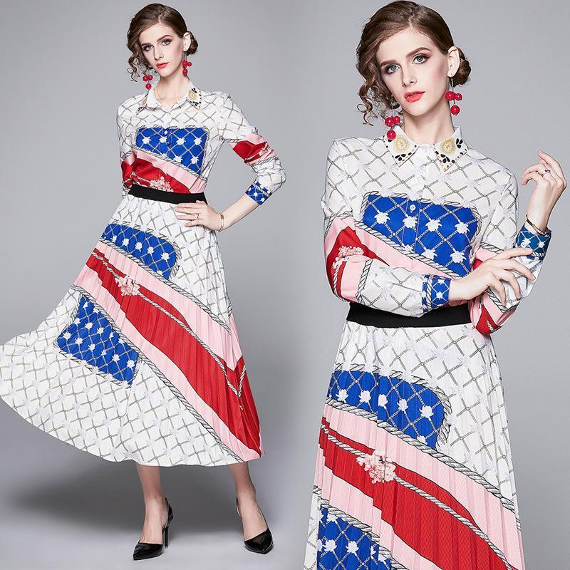 Fashion Joker Lapel Long Sleeve Print Top + Pleated Skirt