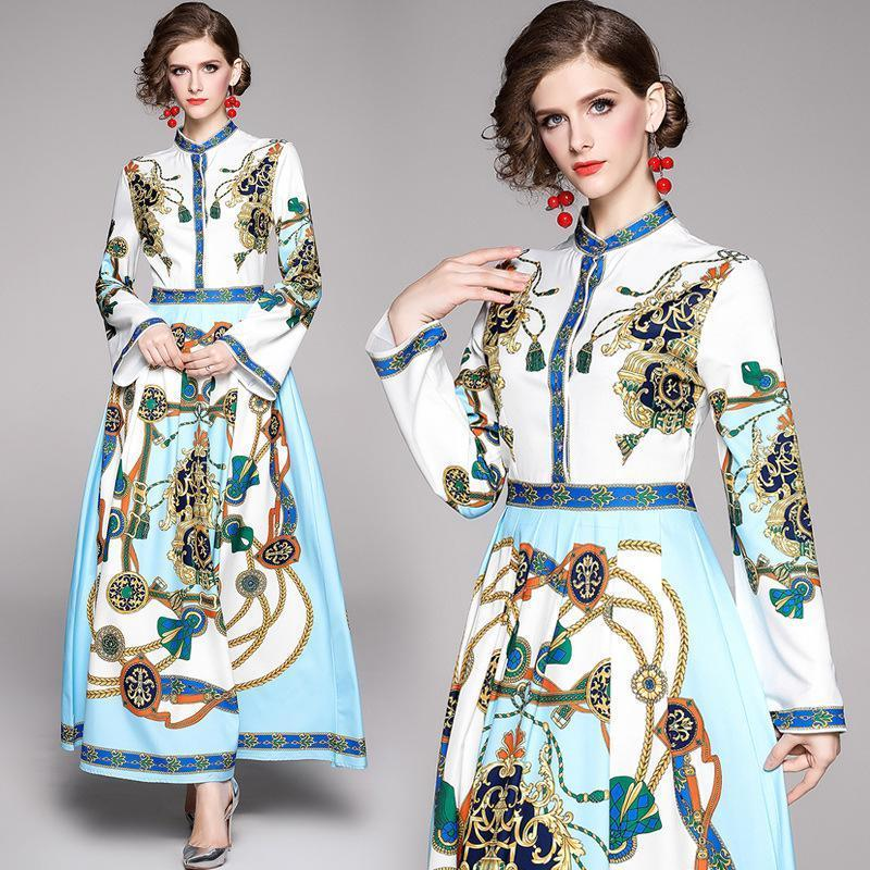 Retro Long Sleeve Fashion Print Slim Long Dress