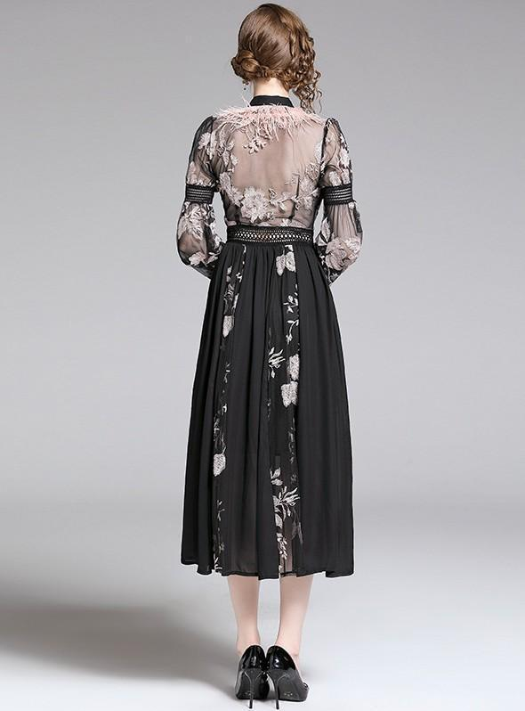 Heavy Embroidered Feather Lantern Sleeves Slim Dress