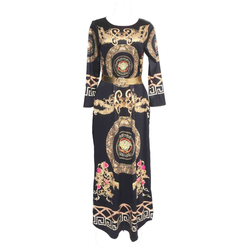 Women's 3D Trend Printing Slim Large Swing Maxi Dress L-XL