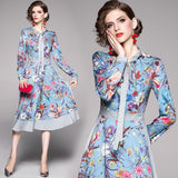 Fashion Print Lace Bow Tie Long Sleeve Dress