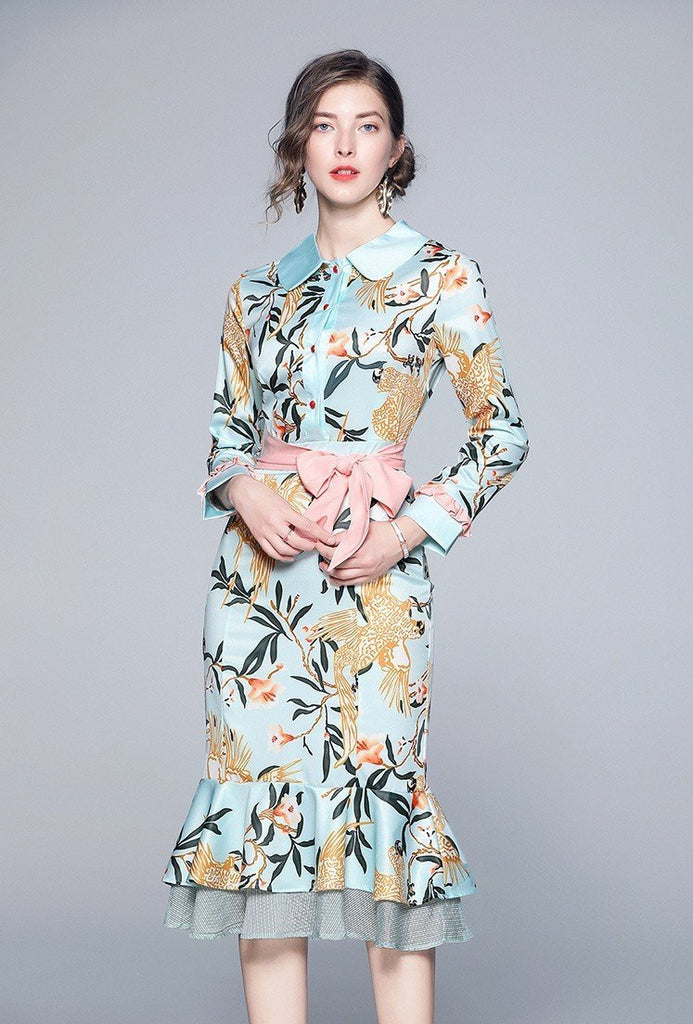 Floral Print Mermaid Ruffles Dresses