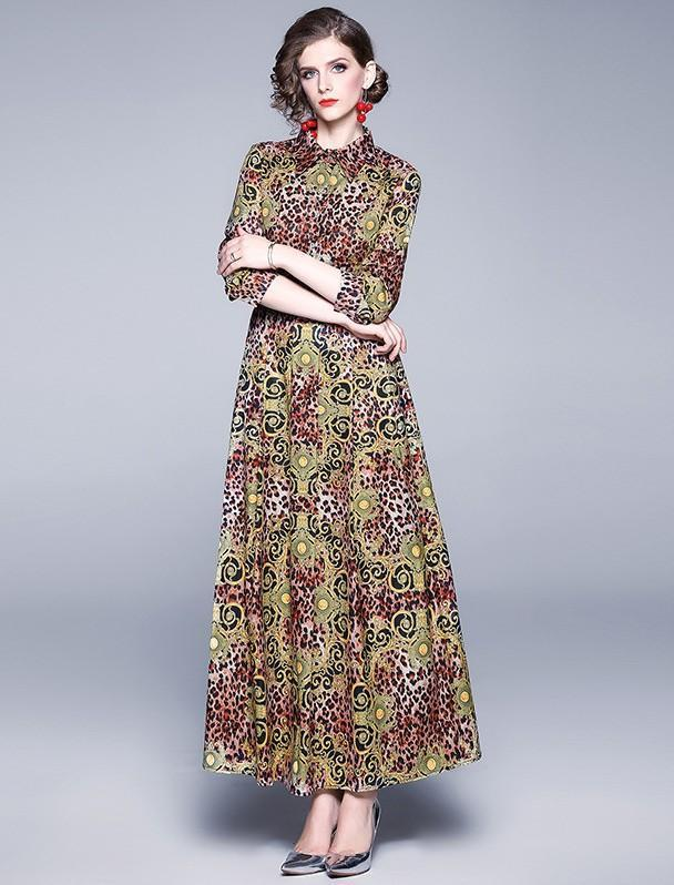 Fashion Lapel Leopard Print Long-sleeved Long Dress