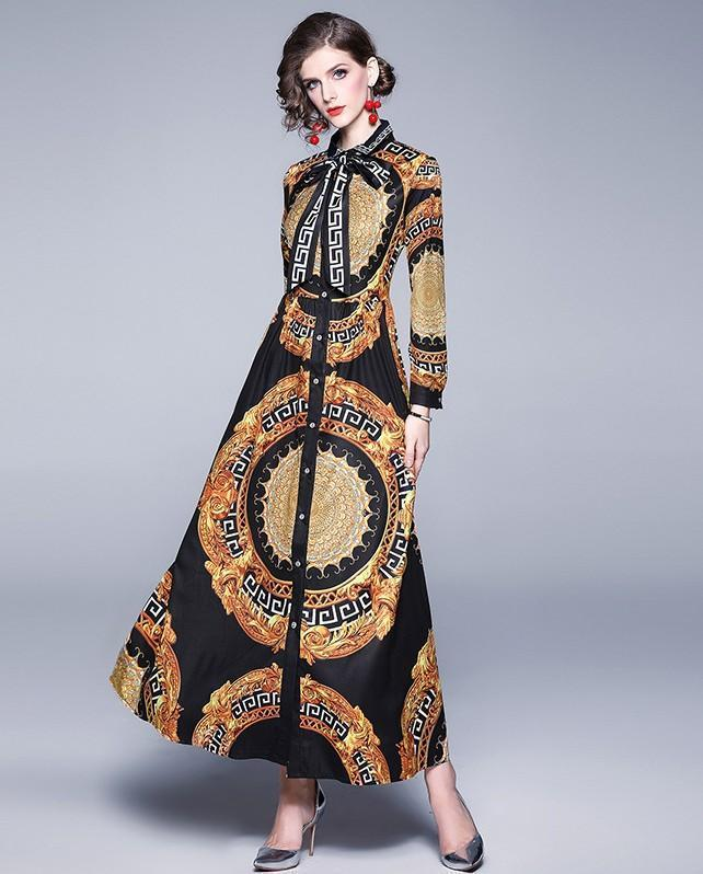 Fashion Printed Lapels Tie Waist Long Dress