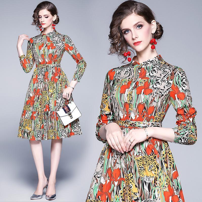New Single-breasted Long-sleeved Long Floral Dress