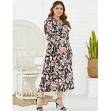 V-Neck Floral Print Long Sleeve Elegant Casual Dress XL-4XL