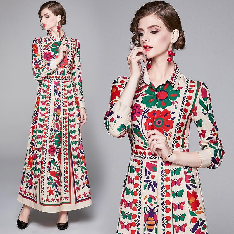 Lapel Vintage Lace Print Long Sleeves Maxi Dress
