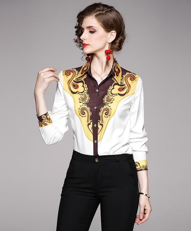 Fashion Print Lapel Long Sleeve Shirt
