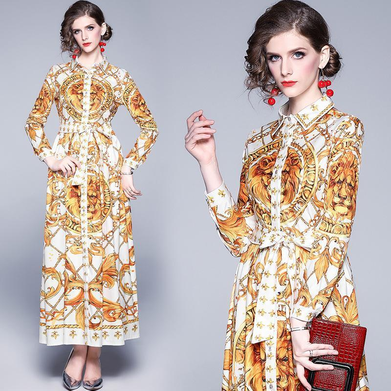 Lapel Royal Court Print Long-sleeved Slim Long Dress