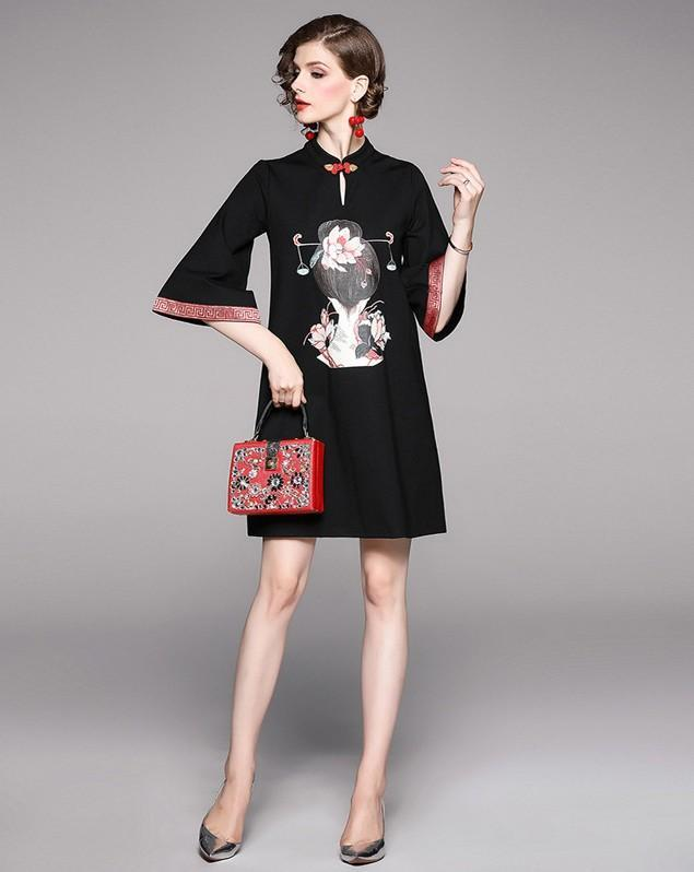 New Chinese Style Printed Dress