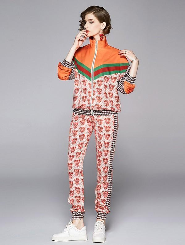 Fashion Stand Collar Print Jacket + Straight Print Pants