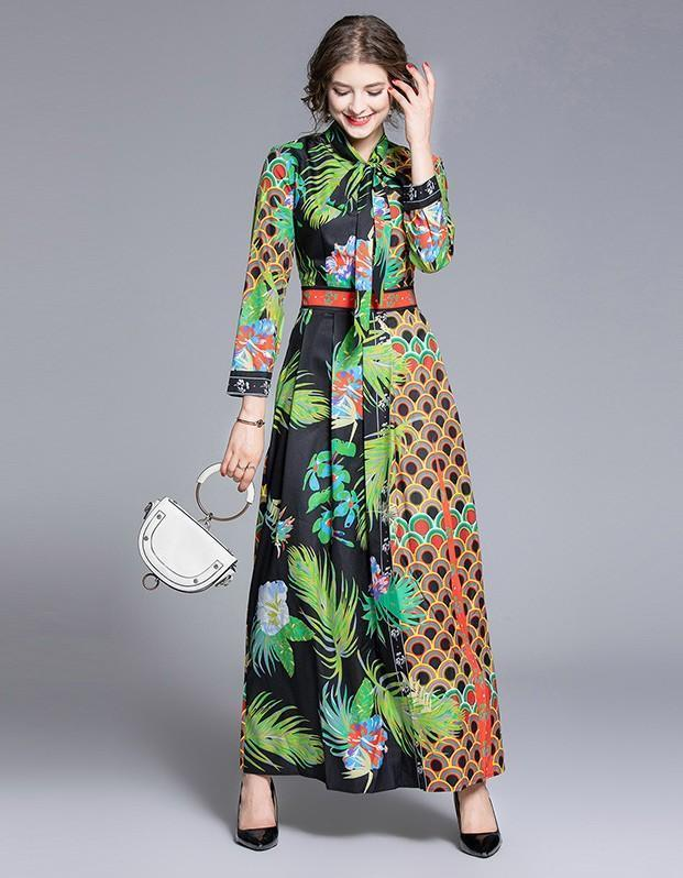 Fashion Waist Slim Floral Print Dress