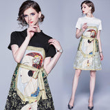Round Neck Loose Casual Stitching Print Dress