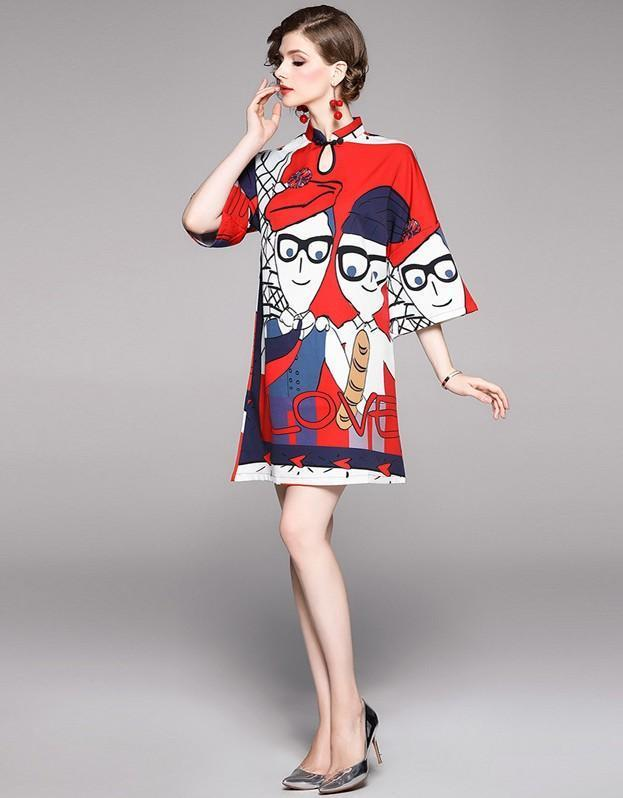 Character Print Long Sleeve Mini Dress
