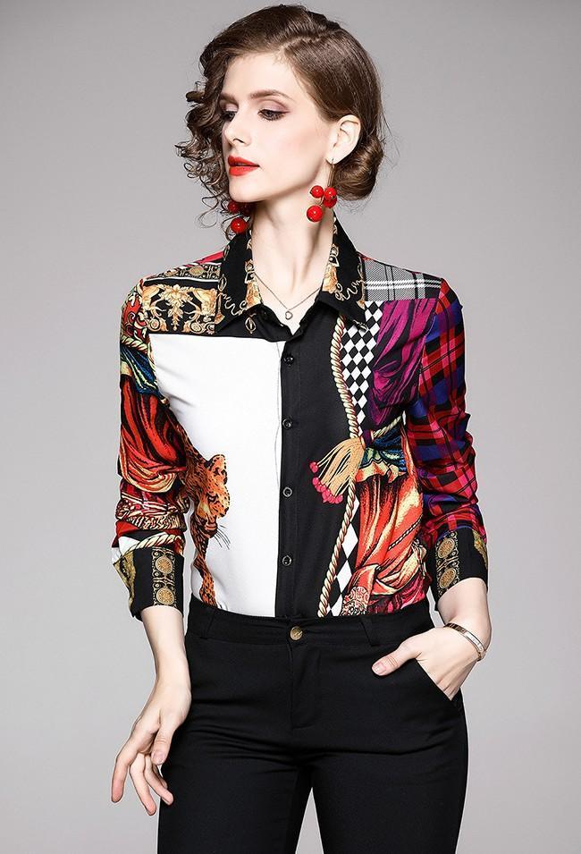 Fashion Printed Lapels Long Sleeve Shirt