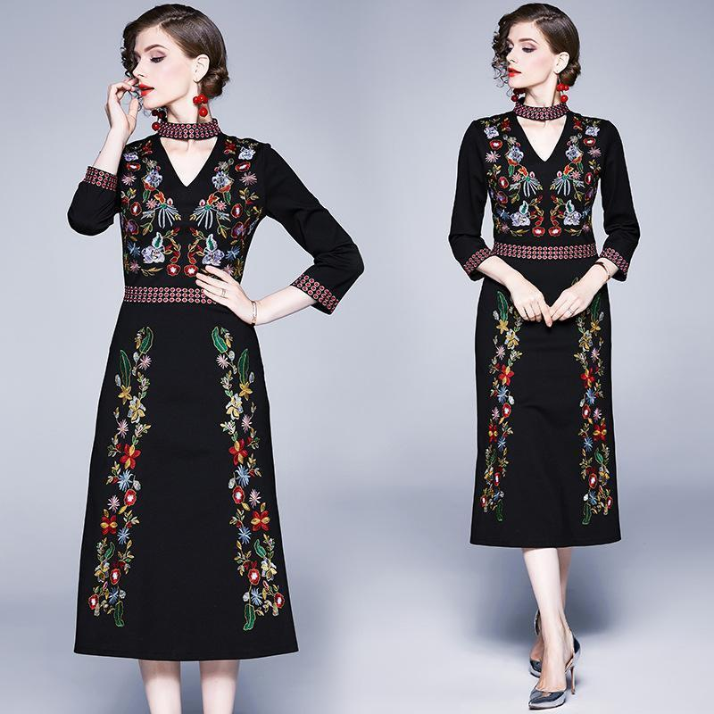 Retro Heavy Embroidery Fashion Long Slim Dress