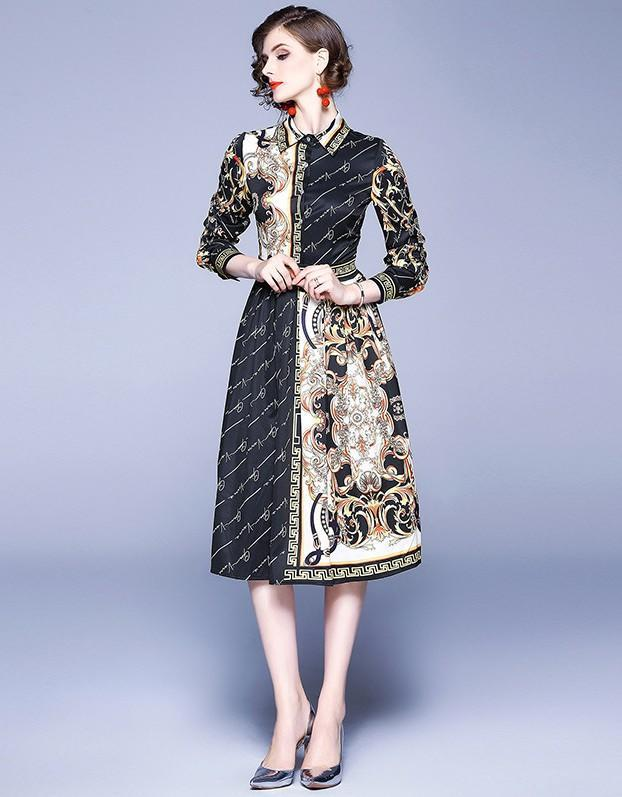 Lapel Fashion Print Long-sleeved Slim Midi Dress