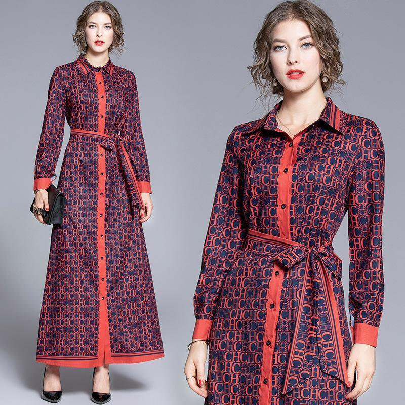 Fashion Loose Printed Long Shirt Collar Dress