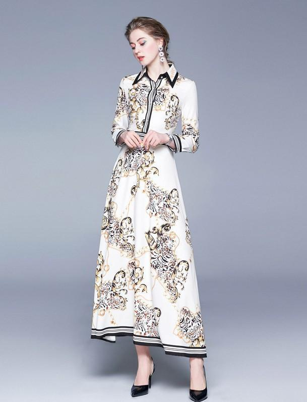 Fashion Lapel Long Sleeve Print Slim Long Sleeve Dress