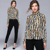 New Fashion Lapel Long Sleeve Striped Print Shirt