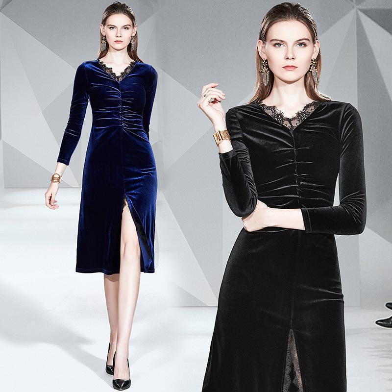 V Neck Long Sleeve Velvet Slim Midi Dress
