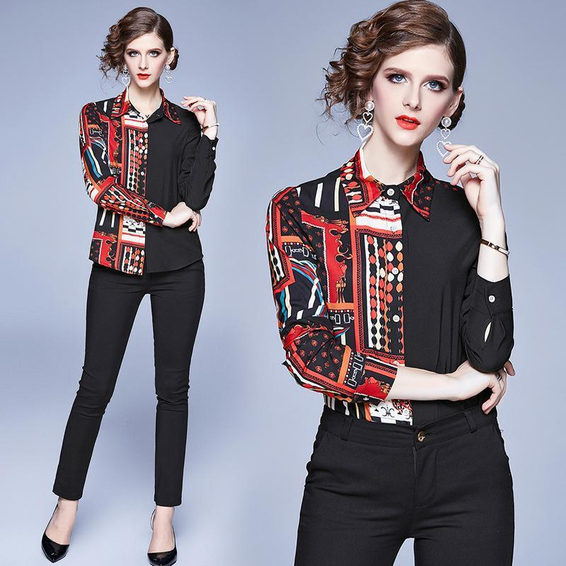 Printed Long Sleeve Women Blouses Shirt