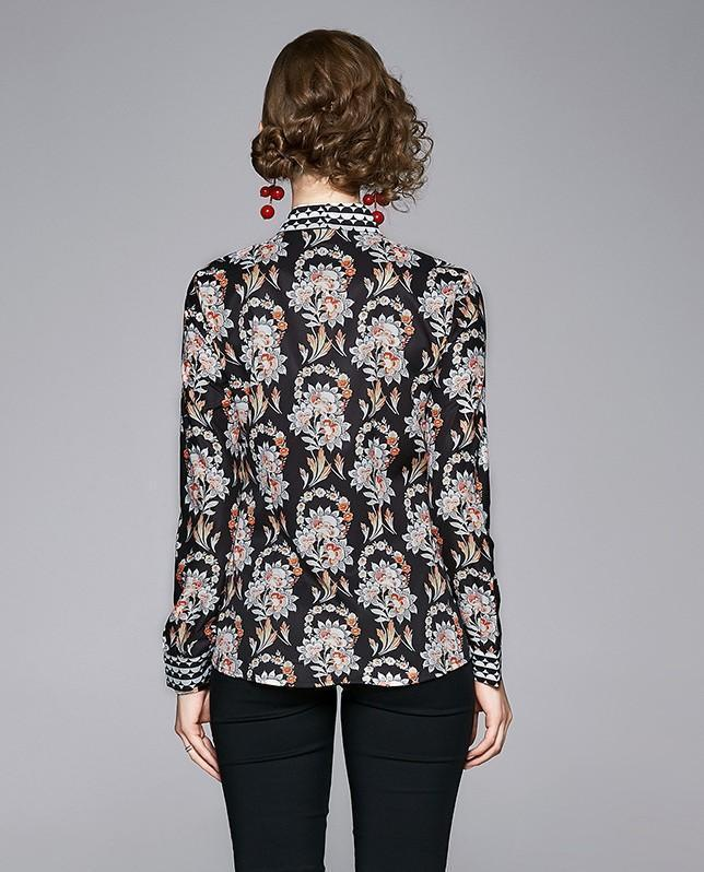 Fashion Floral Print Long Sleeve Court Shirt
